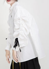 Load image into Gallery viewer, Women drawstring cotton fall clothes Tutorials white shirts