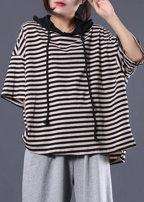 Women drawstring hooded cotton tunic pattern Tunic Tops black striped blouse summer