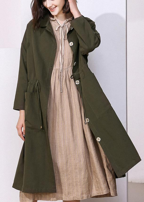 Women drawstring top quality spring clothes dark green baggy women coats