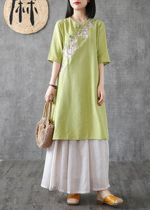 Women embroidery Chinese Button linen Catwalk green Dress
