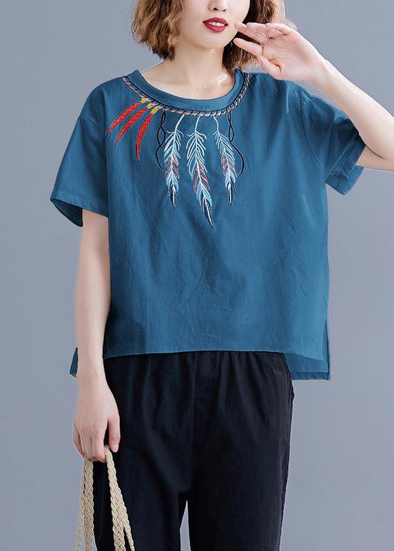 Women embroidery linen crane tops Neckline white shirts summer