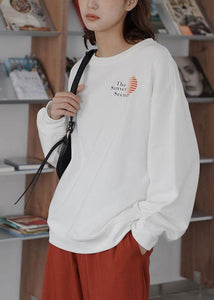 Women fall cotton o neck Long Shirts Fabrics white top