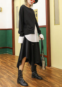 Women false two pieces cotton top silhouette Work Outfits black blouses fall