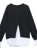 Load image into Gallery viewer, Women false two pieces cotton top silhouette Work Outfits black blouses fall
