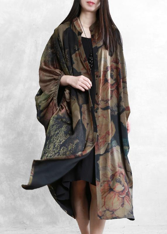 Women floral Robes stand collar Batwing Sleeve Kaftan summer Dress