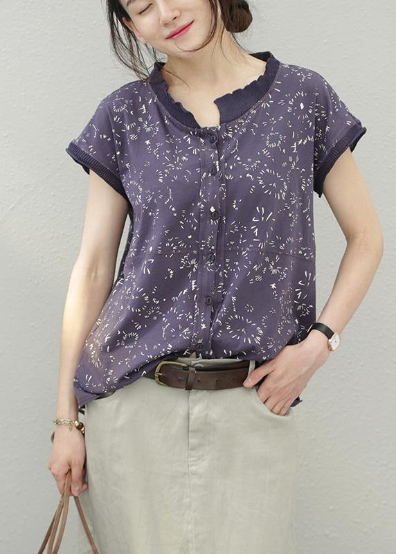 Women floral cotton tops stand collar silhouette summer shirt