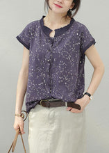 Load image into Gallery viewer, Women floral cotton tops stand collar silhouette summer shirt