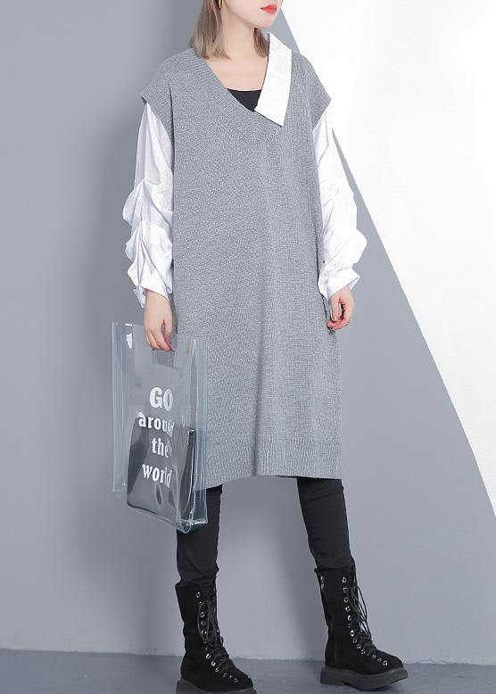 Women gray Sweater dress outfit Design Funny v neck knitted tops