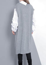 Load image into Gallery viewer, Women gray Sweater dress outfit Design Funny v neck knitted tops