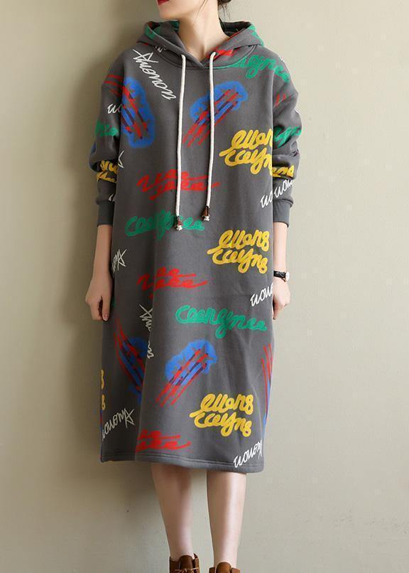 Women gray prints cotton Tunic warm Robe hooded Dress