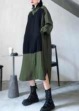 Load image into Gallery viewer, Women green cotton Tunics lapel patchwork Vestidos De Lino Dresses