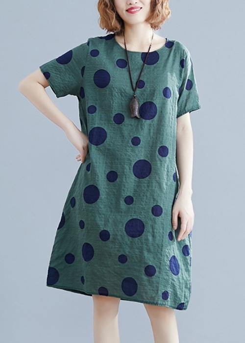 Women green dotted Cotton Tunic o neck pockets loose Dress