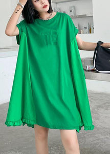 Women green embroidery Cotton Tunics o neck Midi summer Dress