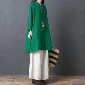 Women green linen outfit Casual Fabrics Chinese Button short side open Dress