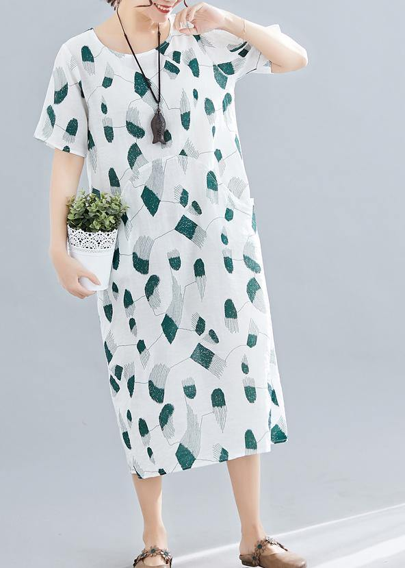 Women green print linen cotton Robes o neck pockets long summer Dress