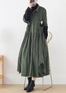Women green quilting clothes lapel false two pieces A Line Dress