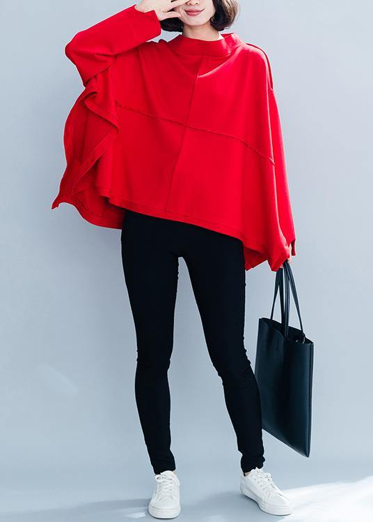 Women high neck asymmetric clothes Shirts red top