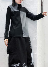 Load image into Gallery viewer, Women high neck cotton Tunic Neckline black patchwork gray top