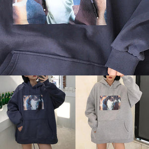Women hooded cotton thick pullover Tutorials blue blouses