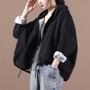 Women hooded drawstring Fine fall coats black loose jackets
