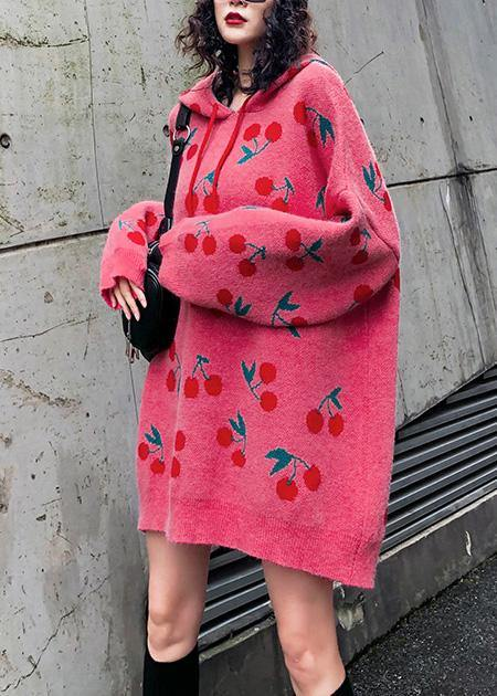 Women hooded drawstring Sweater dresses Street Style pink Cherry print Mujer sweater dress