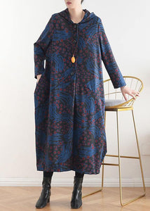 Women hooded patchwork top quality coat for woman blue print tunic coats fall