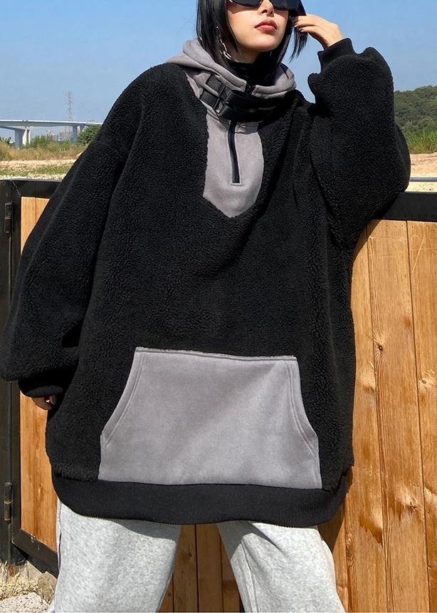 Women hooded zippered spring clothes black fuzzy wool tops