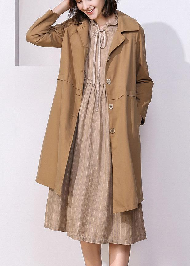 Women khaki top quality trench coat Inspiration long sleeve spring jackets