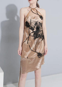 Women khaki tulle clothes embroidery Art summer Dresses
