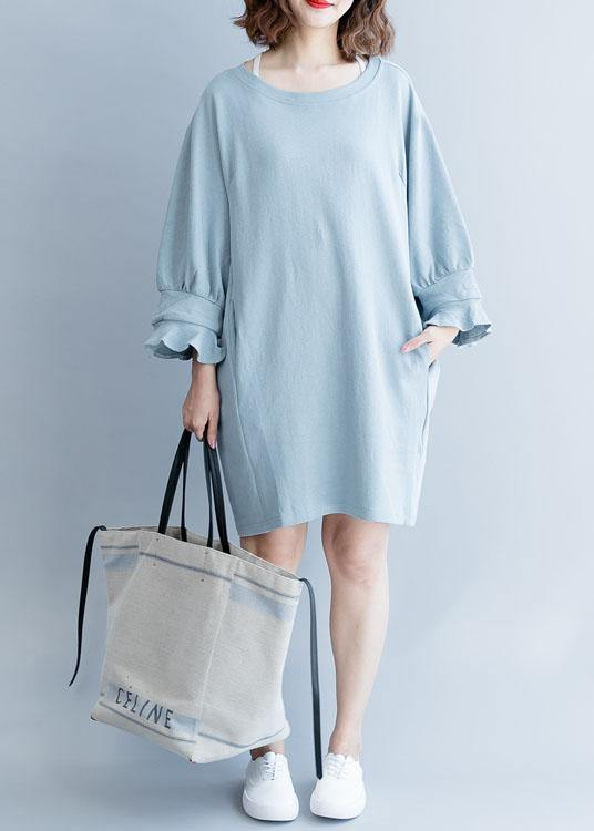Women lantern sleeve Cotton dress Inspiration light blue Dress fall