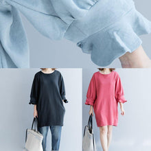Load image into Gallery viewer, Women lantern sleeve Cotton dress Inspiration light blue Dress fall