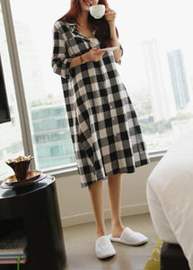 Women lapel Button Down cotton linen Tunics Inspiration plaid Dresses