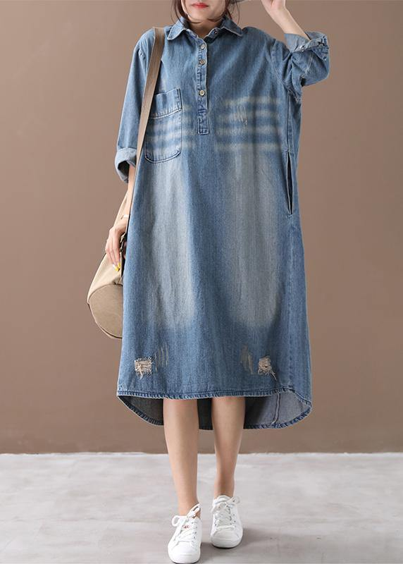 Women lapel Hole spring outfit Shape denim blue Dresses