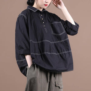 Women lapel baggy blouses for pattern black top