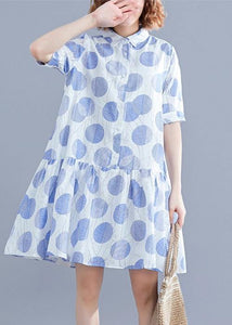 Women lapel clothes Women Sleeve white dotted Dress