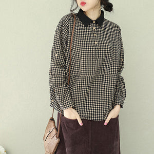Women lapel linen blouses for women top quality Tutorials black Plaid box blouses