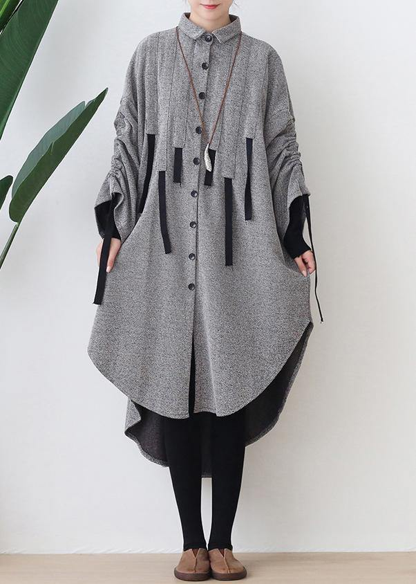 Women lapel low high design cotton tunic top Work gray Robe Dresses