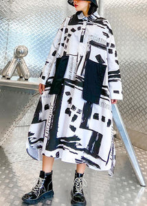 Women lapel pockets fall Tunics pattern black white print long Dresses