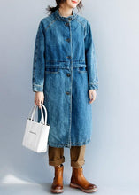 Load image into Gallery viewer, Women light blue Fine tunic coat Tunic Tops stand collar patchwork coat