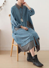 Load image into Gallery viewer, Women light blue cotton clothes lapel drawstring Dresses fall Dress
