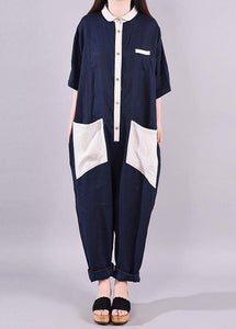 Women linen Fitted Fashion Spliced Big Pockets Casual Romper