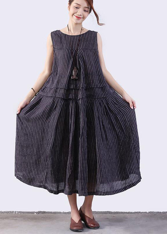 Women linen Long Shirts plus size Folded Splicing Stripe Women Dark Blue Vest Dress