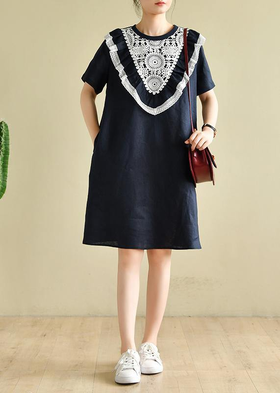 Women navy patchwork lace quilting clothes o neck loose Dress