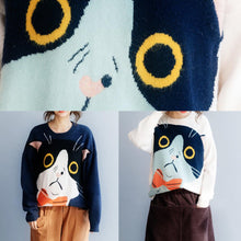 Load image into Gallery viewer, Women navy sweater tops winter Loose fitting animal print knitwear