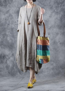 Women nude linen clothes o neck Dress