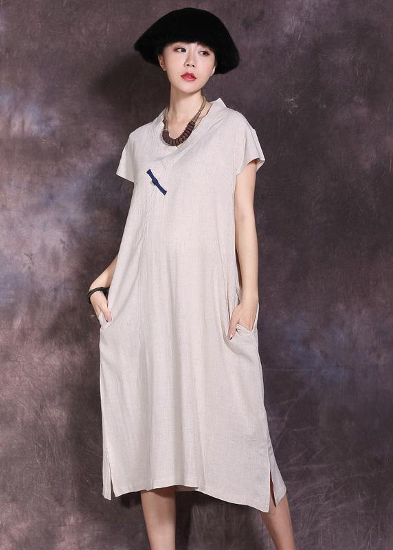 Women nude v neck linen dress side open Plus Size summer Dresses