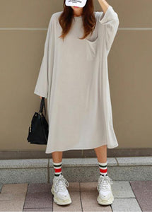 Women o neck Batwing Sleeve cotton summer dress Outfits gray Robe Dresses