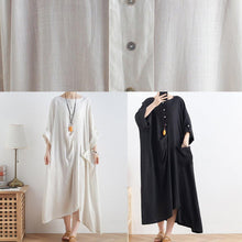 Load image into Gallery viewer, Women o neck asymmetric cotton summer clothes Women Tutorials white loose Dresses