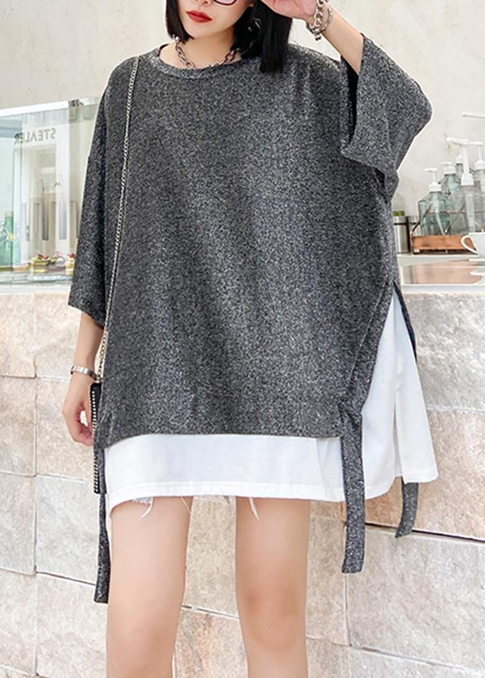 Women o neck asymmetric cotton summer for women Tops silver gray shirts
