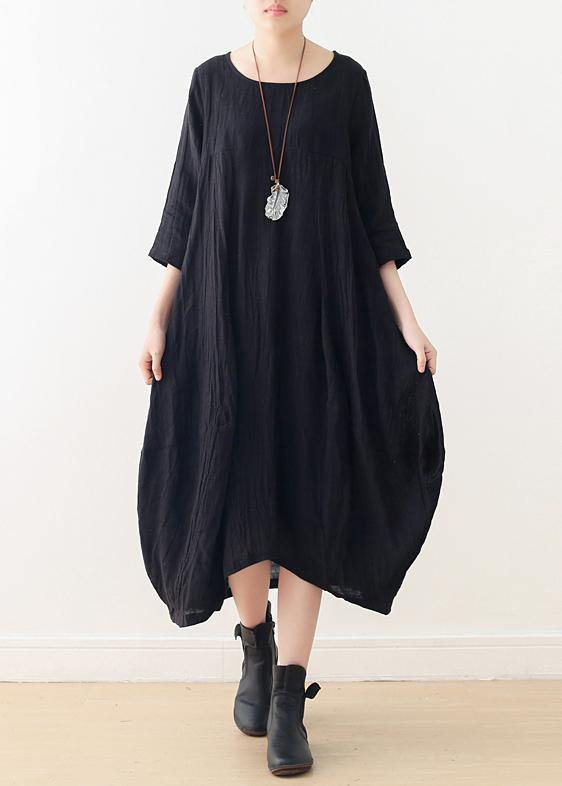 Women o neck asymmetric linen dress Wardrobes black Dress